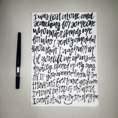 I asked a friend to give me a random song and I practiced my brush lettering on it.