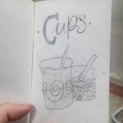 Started a series wherein I practice sketching and combined lettering. C is for Cups.